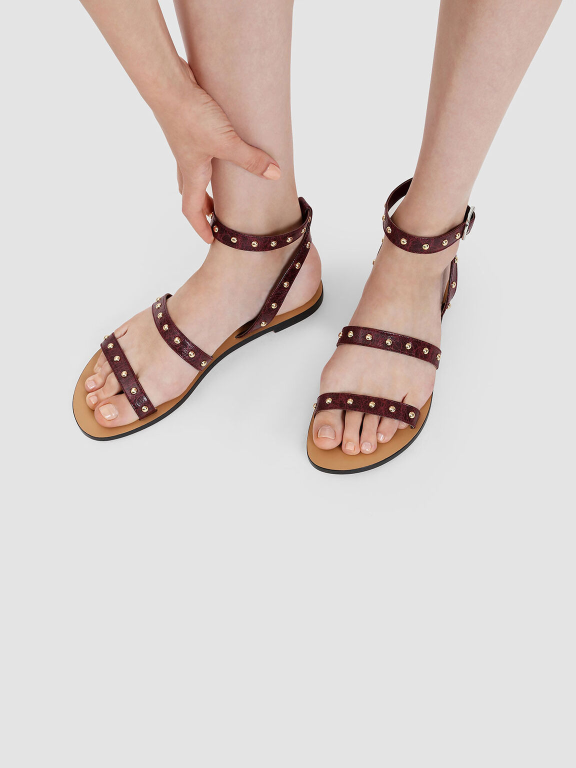 Stud Detail Sandals, Burgundy, hi-res