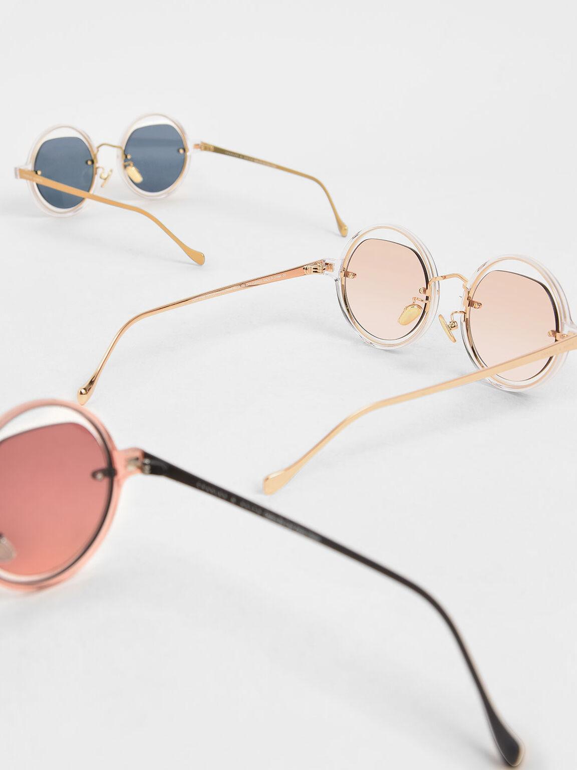 Cut-Out Round Sunglasses, Orange, hi-res