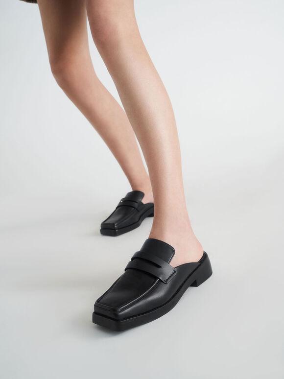 Square Toe Penny Loafer Mules, Black, hi-res