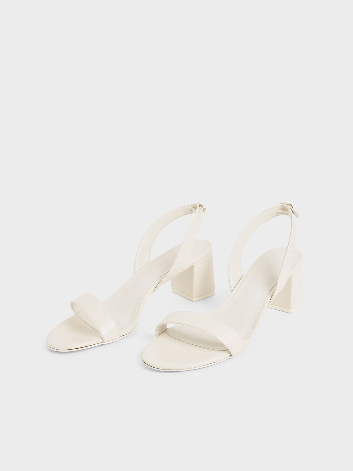 Slingback Heeled Sandals, White, hi-res