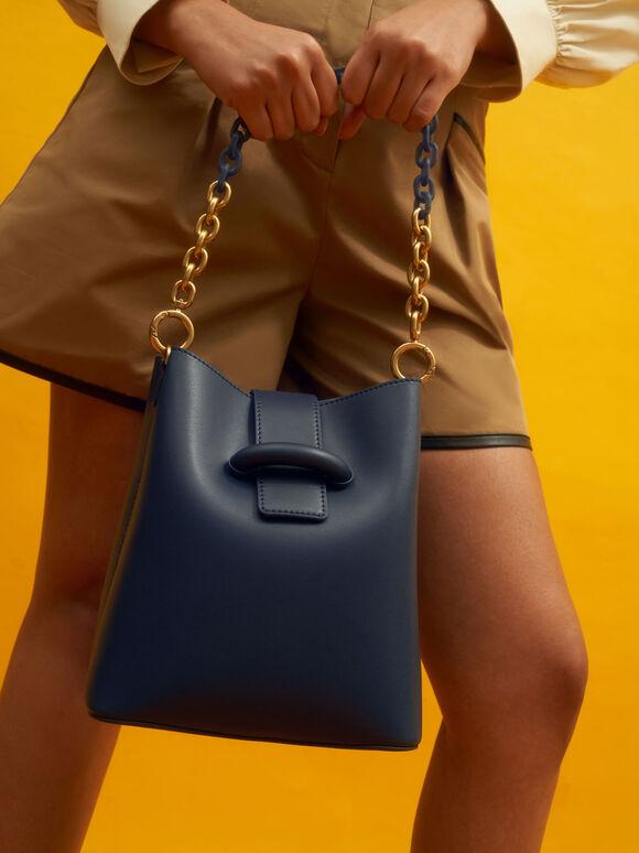 Chain Handle Bucket Bag, Navy, hi-res