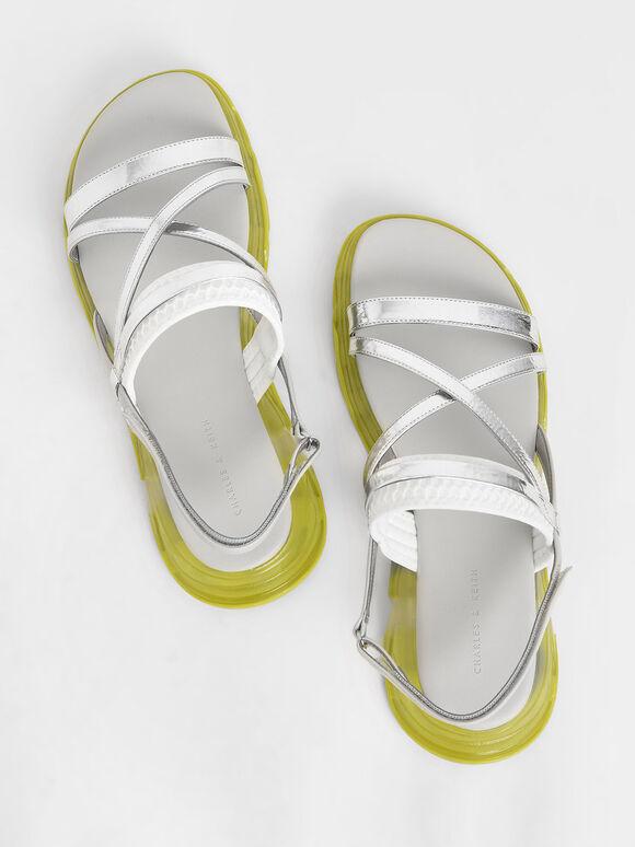 Metallic Strappy Flatform Sandals, Silver, hi-res