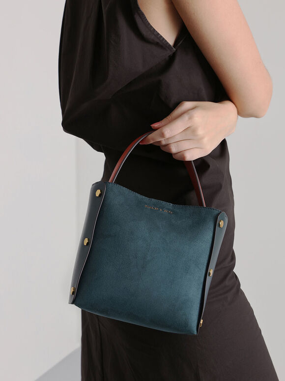 Textured Bucket Bag, Teal, hi-res