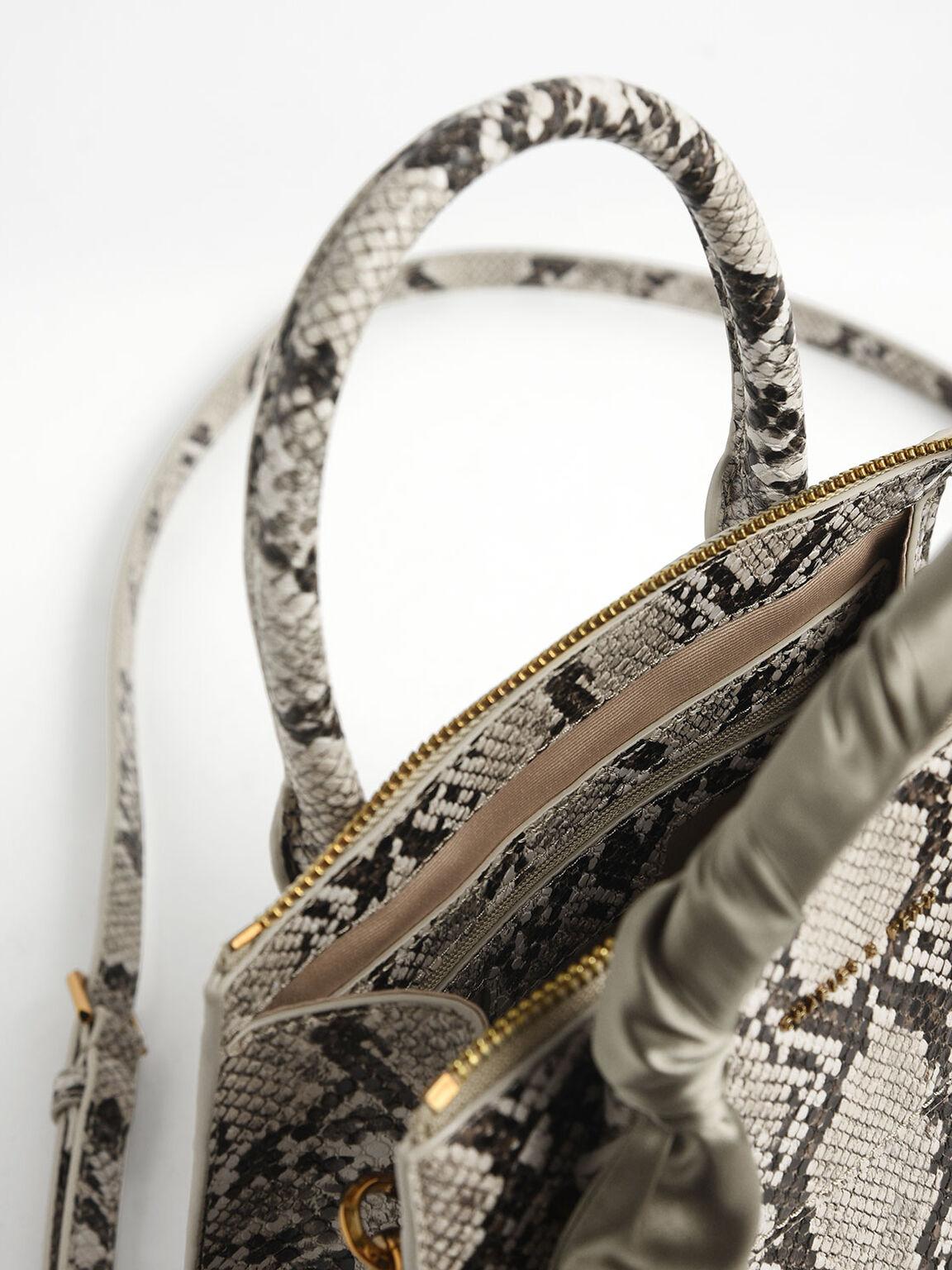 Snake Print Satin Scarf Handle Bag, Taupe, hi-res