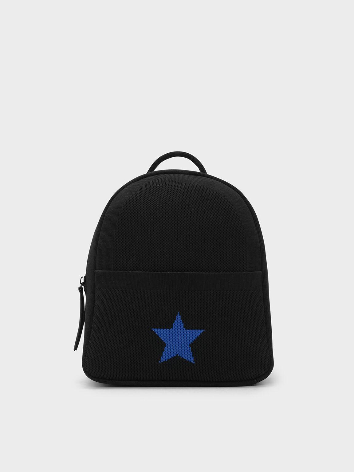 Kids Knitted Backpack, Black, hi-res