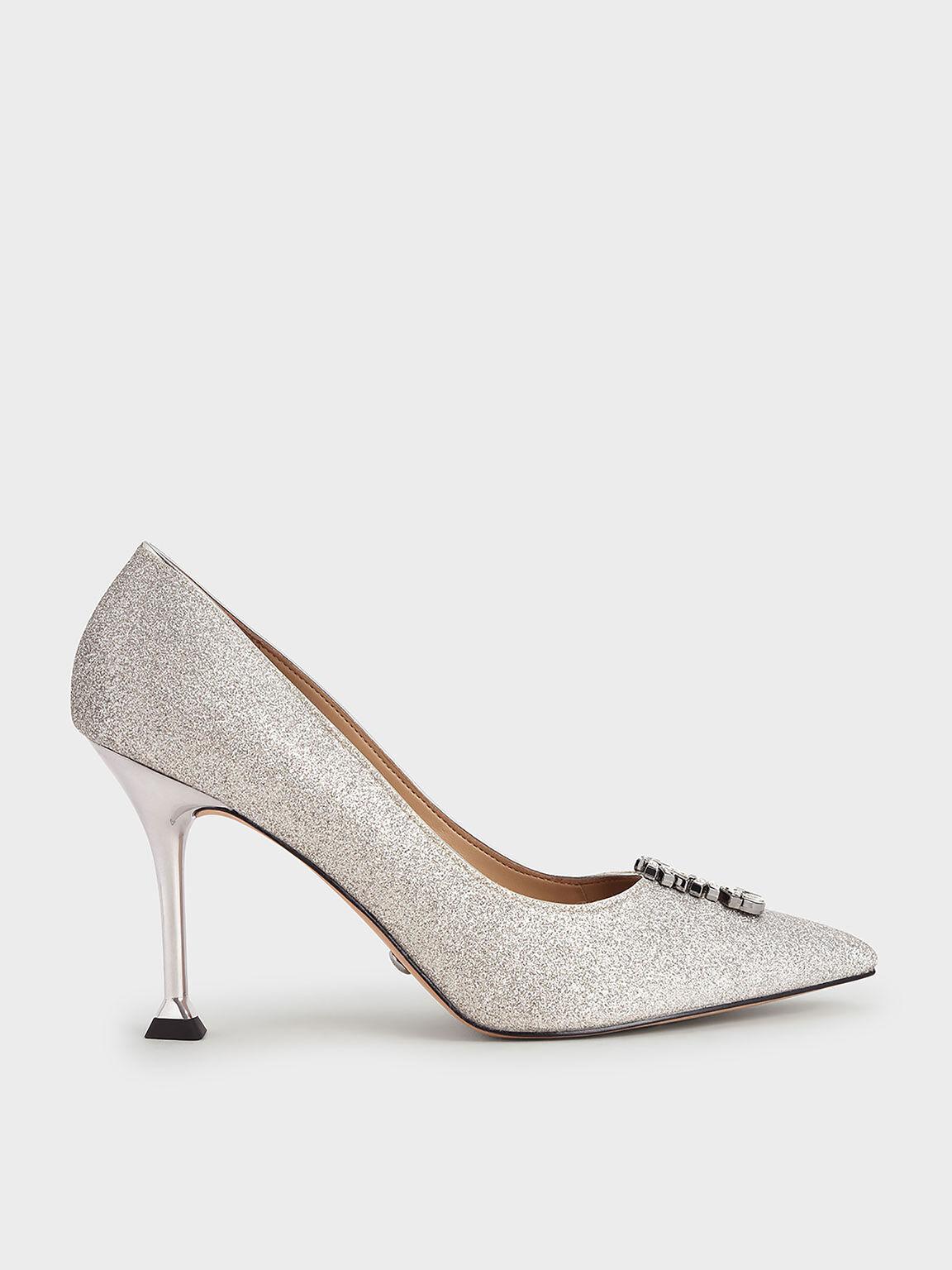 Wedding Collection: Glitter Gem-Embellished Pumps, Silver, hi-res