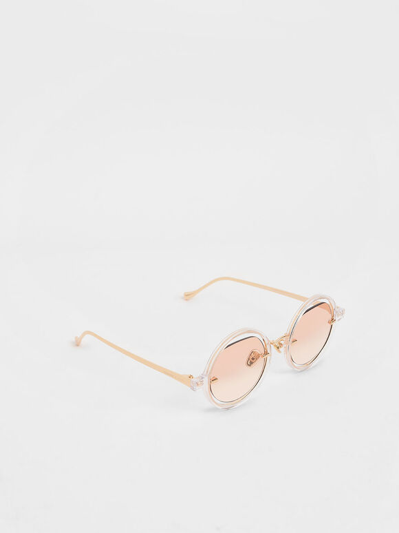 Cut-Out Round Sunglasses, Orange, hi-res