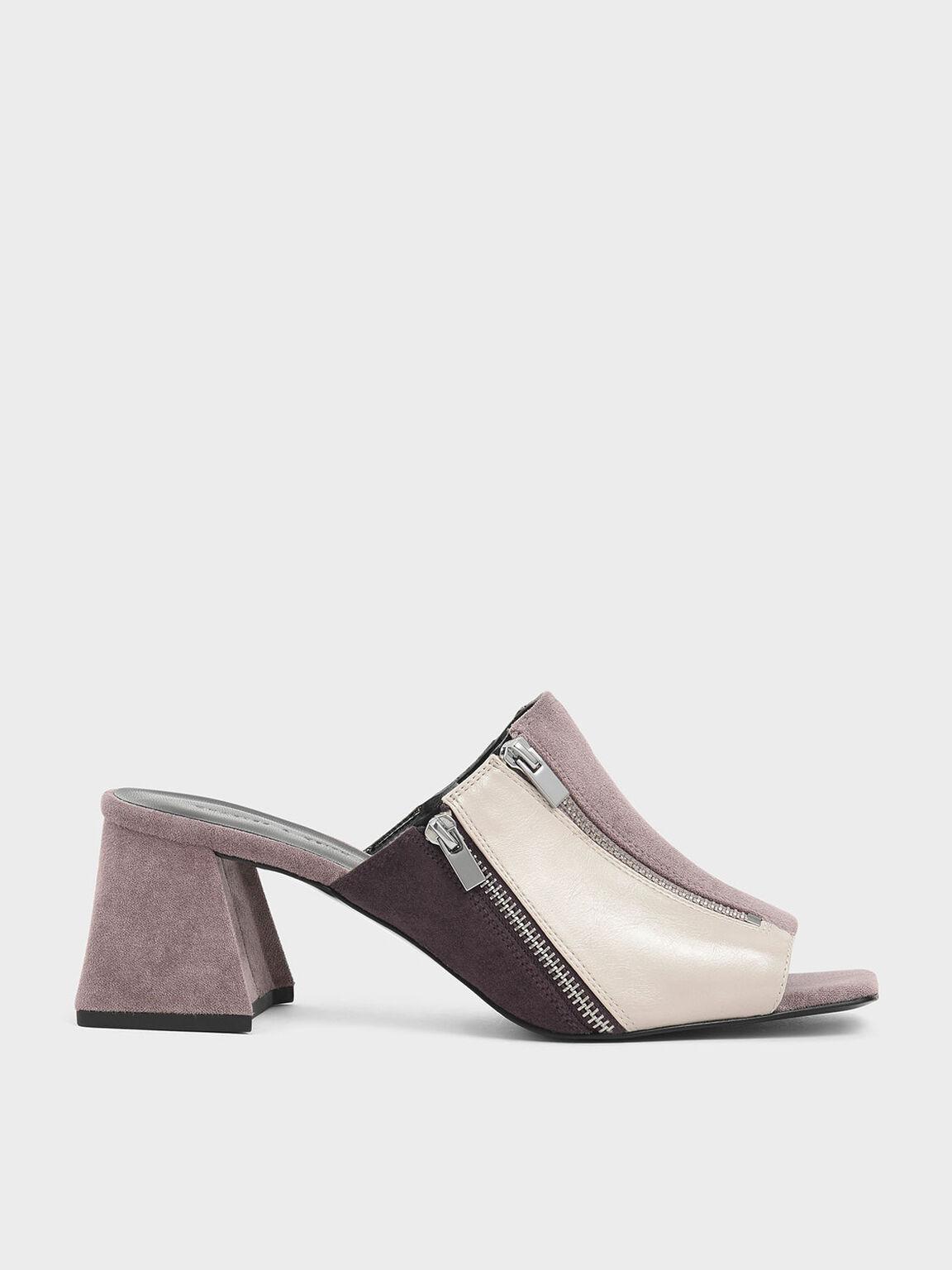 Textured Multicolour Zip Detail Slide Sandals, Multi, hi-res