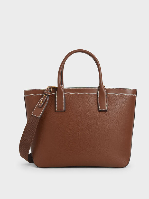 Double Handle Tote Bag, Chocolate, hi-res