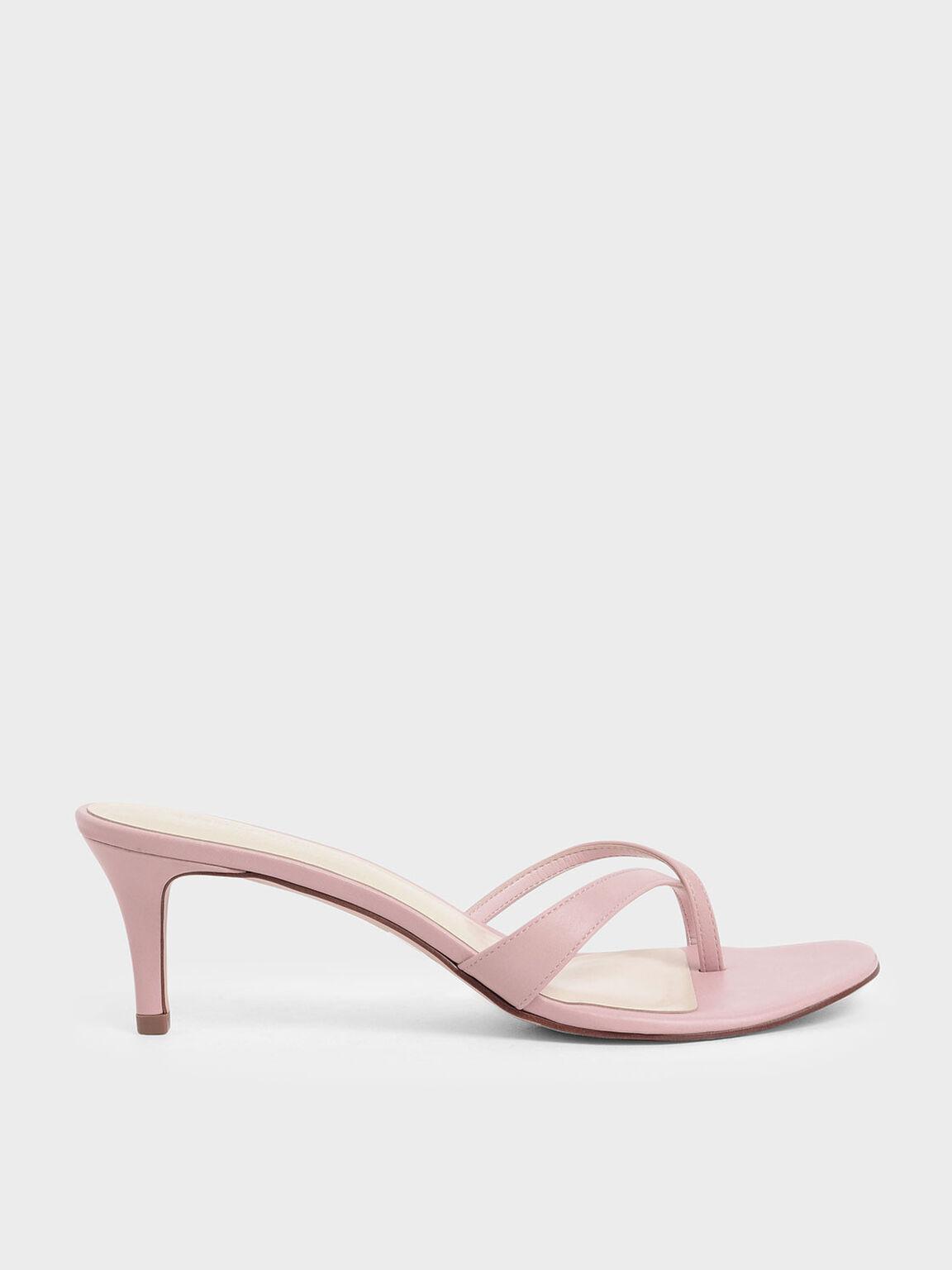 Toe Strap Heeled Sandals, Pink, hi-res