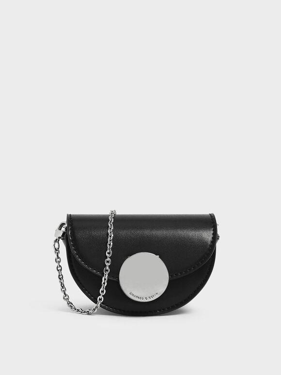Circular Push Lock Saddle Pouch, Black, hi-res