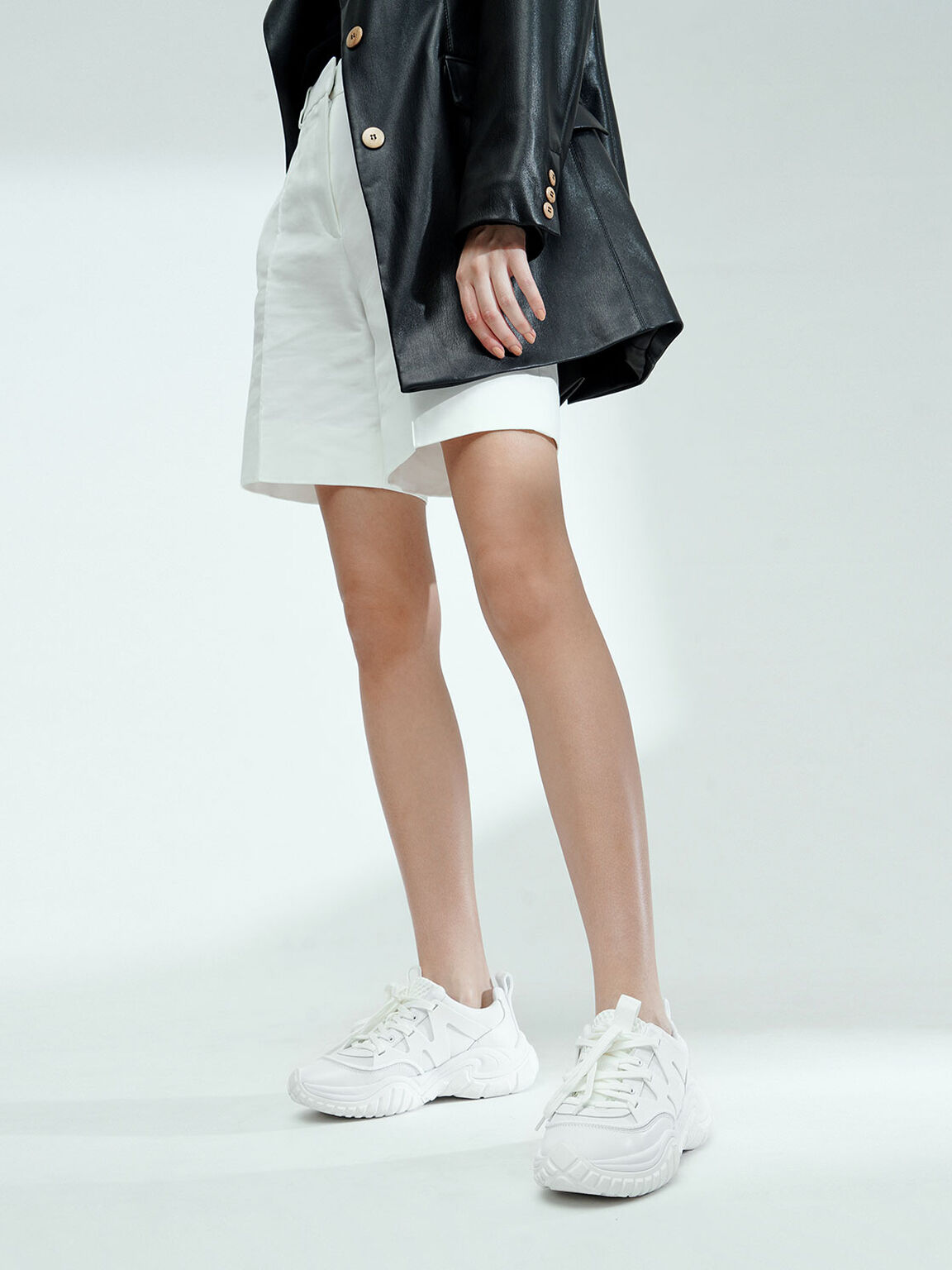 Mesh & Netting Chunky Trainers, White, hi-res