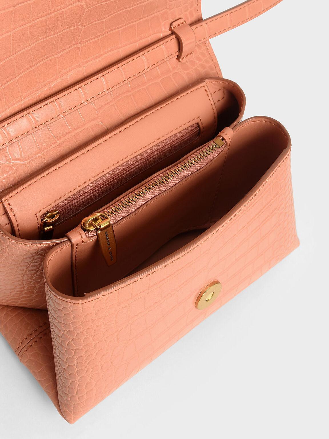 Croc-Effect Chunky Chain Strap Trapeze Bag, Peach, hi-res