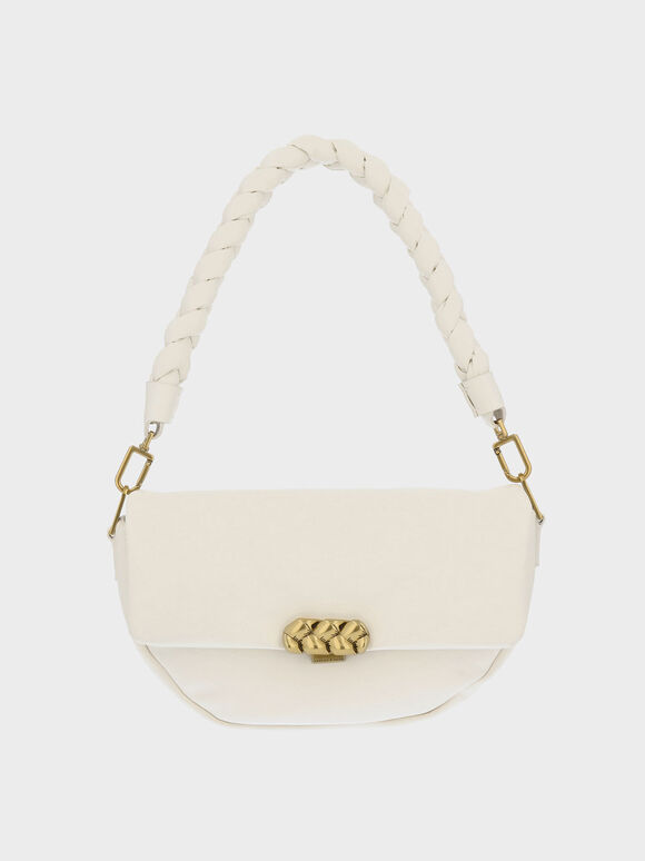 Braided Handle Metallic Accent Shoulder Bag, Cream, hi-res