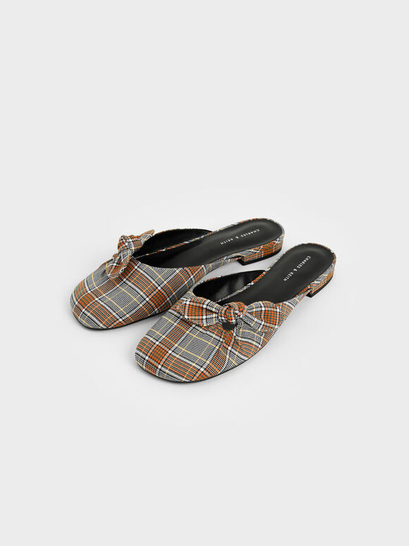 Check Print Knotted Fabric Mules, Grey, hi-res