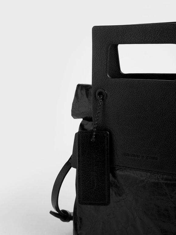 Crumpled-Effect Tote Bag, Black, hi-res