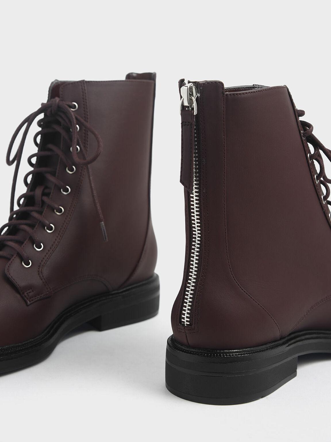 Back Zip Lace-Up Calf Boots, Brown, hi-res