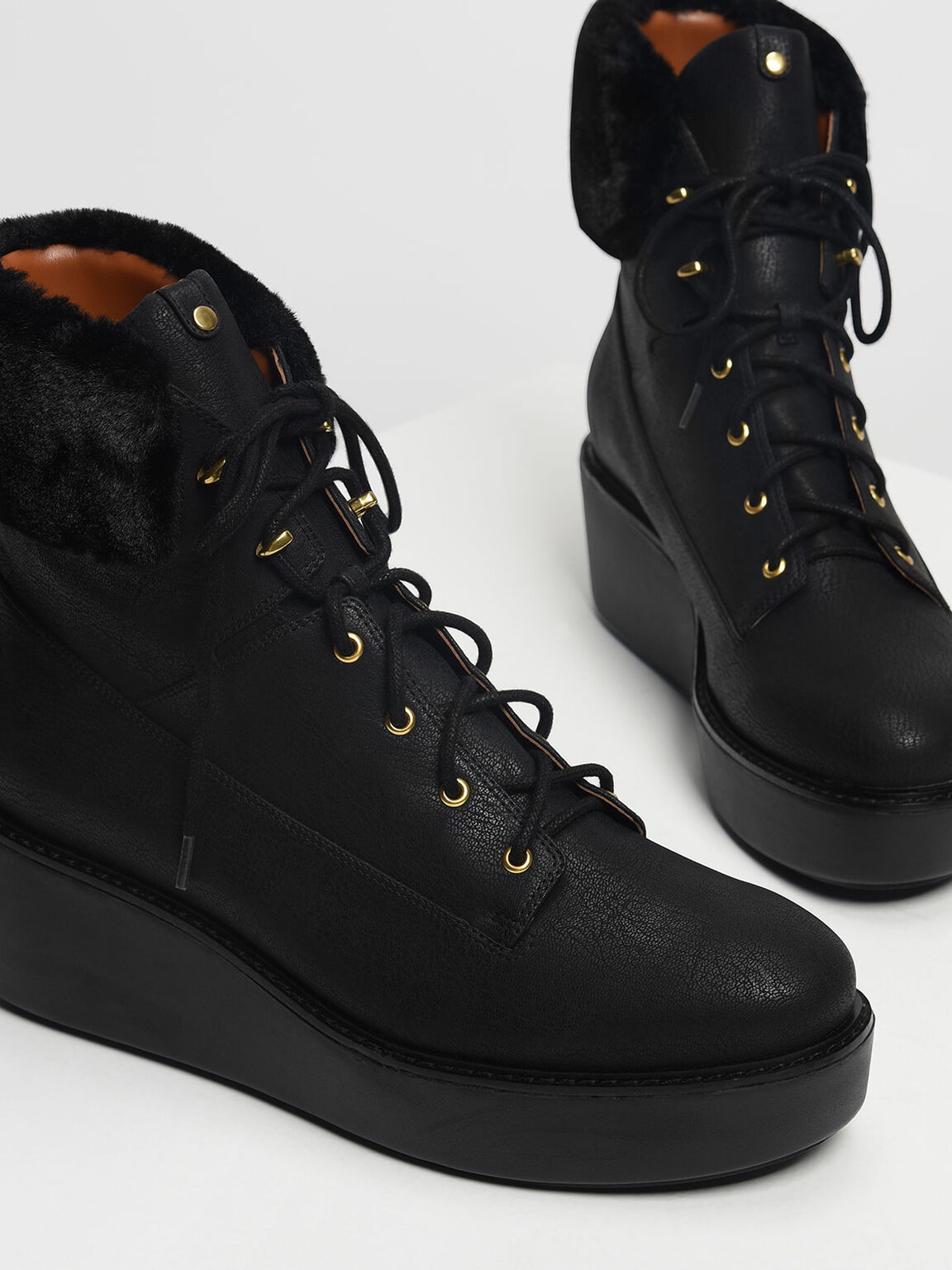 Furry Cuff Laced Up Boots, Black, hi-res