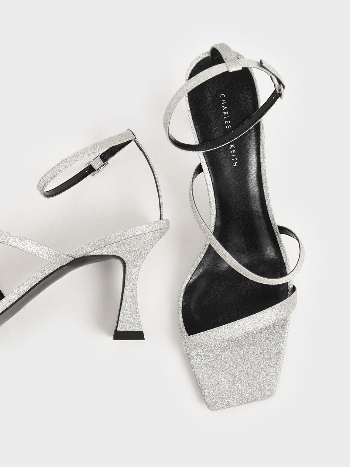 Glitter Sculptural Heel Sandals, Silver, hi-res