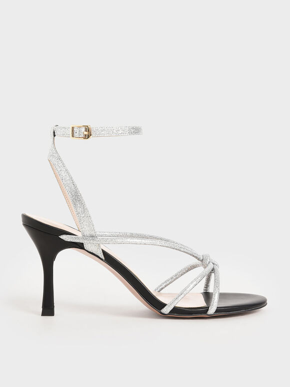 Glitter Front Knot Heeled Sandals, Silver, hi-res