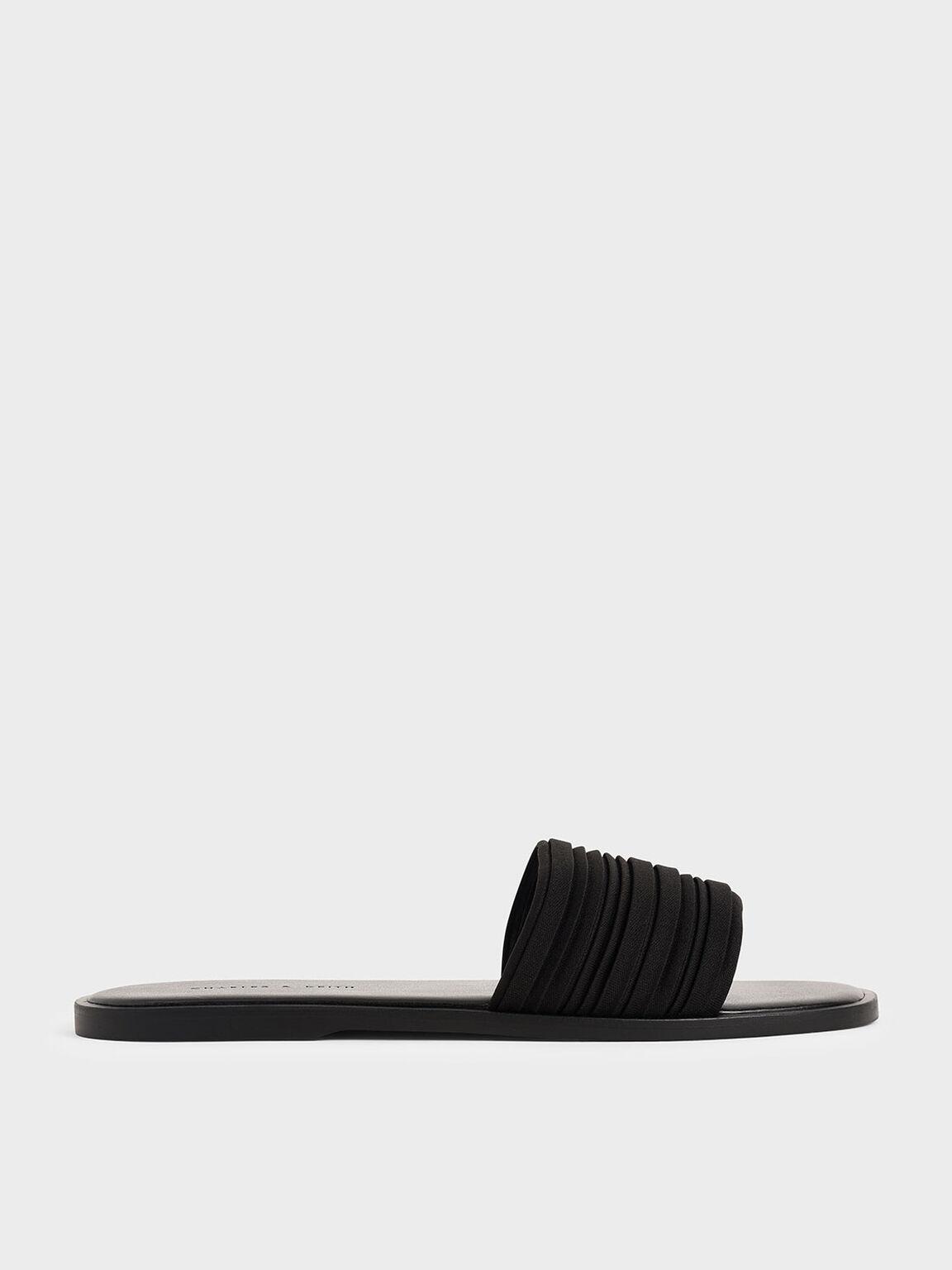 Pleated Slide Sandals, Black, hi-res