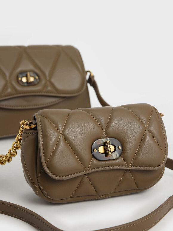 Padded Double Pocket Shoulder Bag, Khaki, hi-res