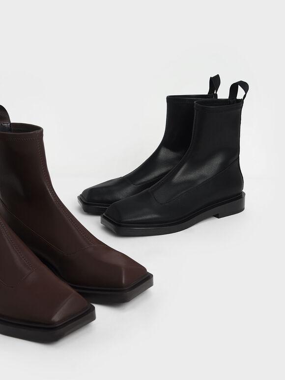 Sculptural Ankle Boots, Black, hi-res