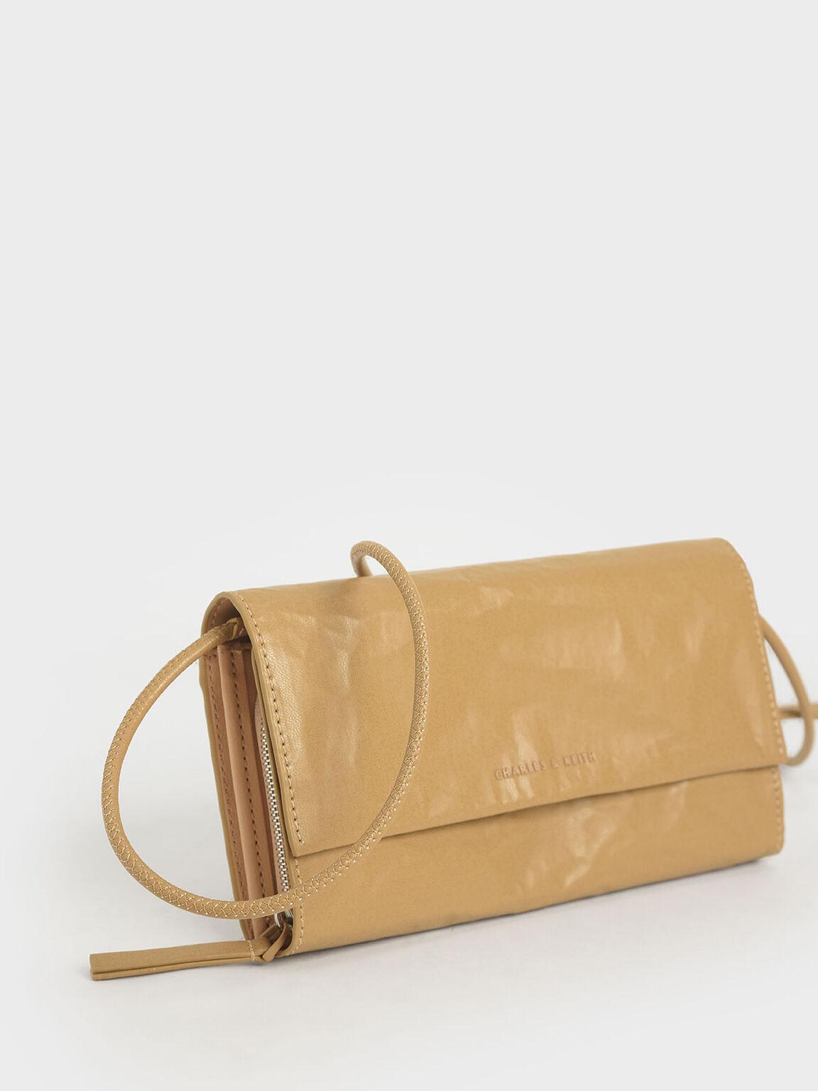 Front Flap Long Wallet, Nude, hi-res