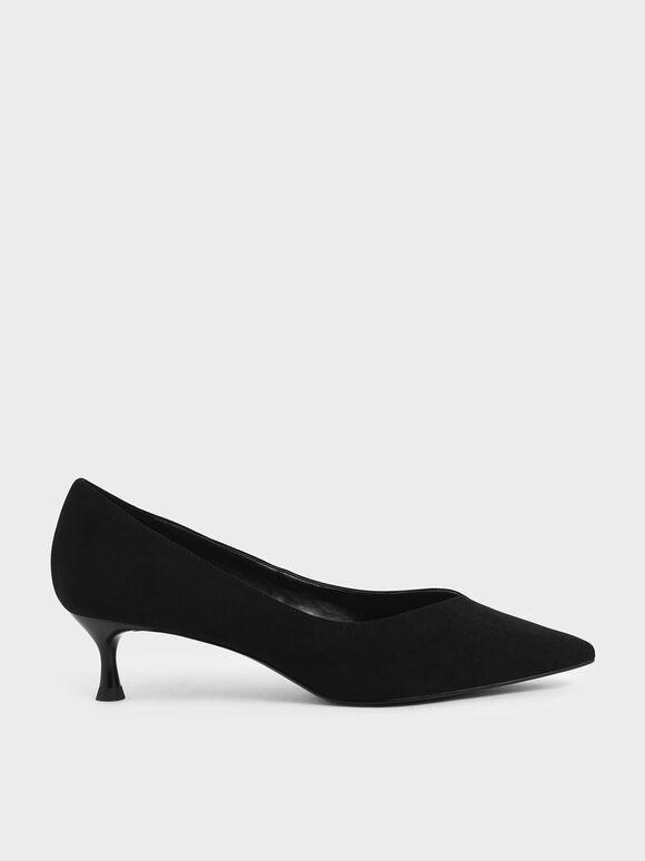Textured Sculptural Heel Pumps, Black Textured, hi-res