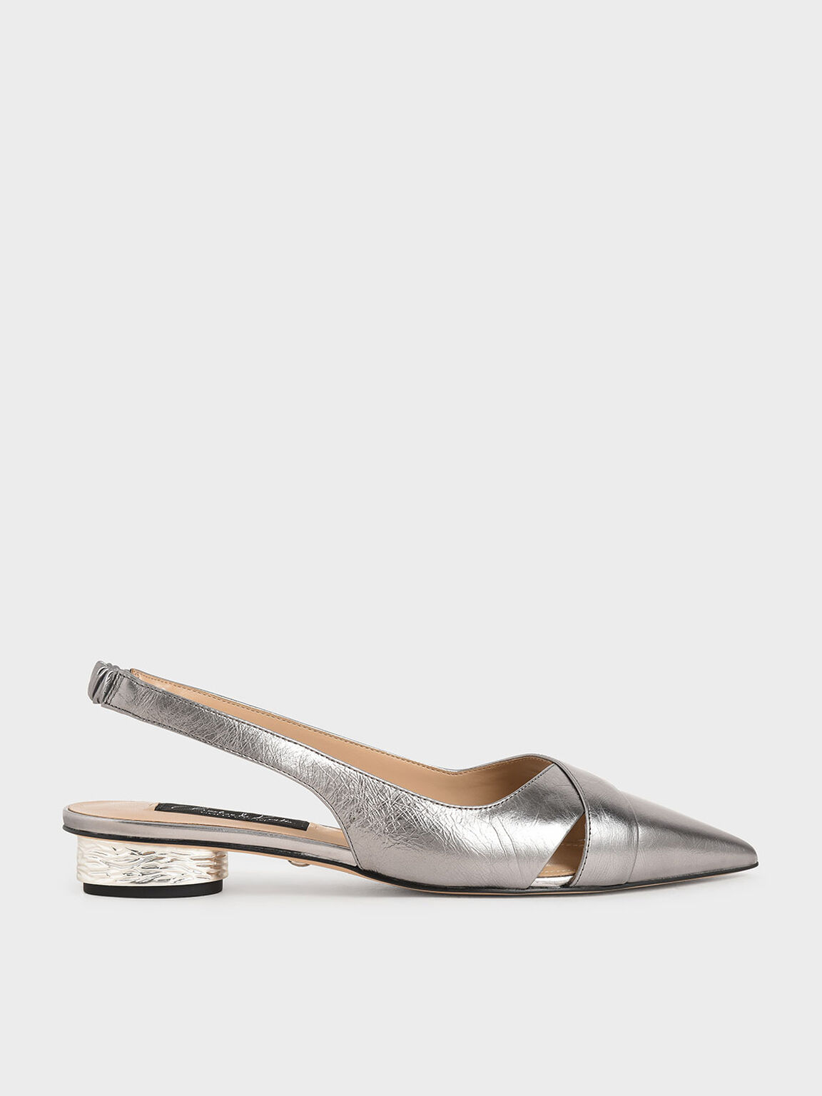Leather Slingback Pumps, Pewter, hi-res