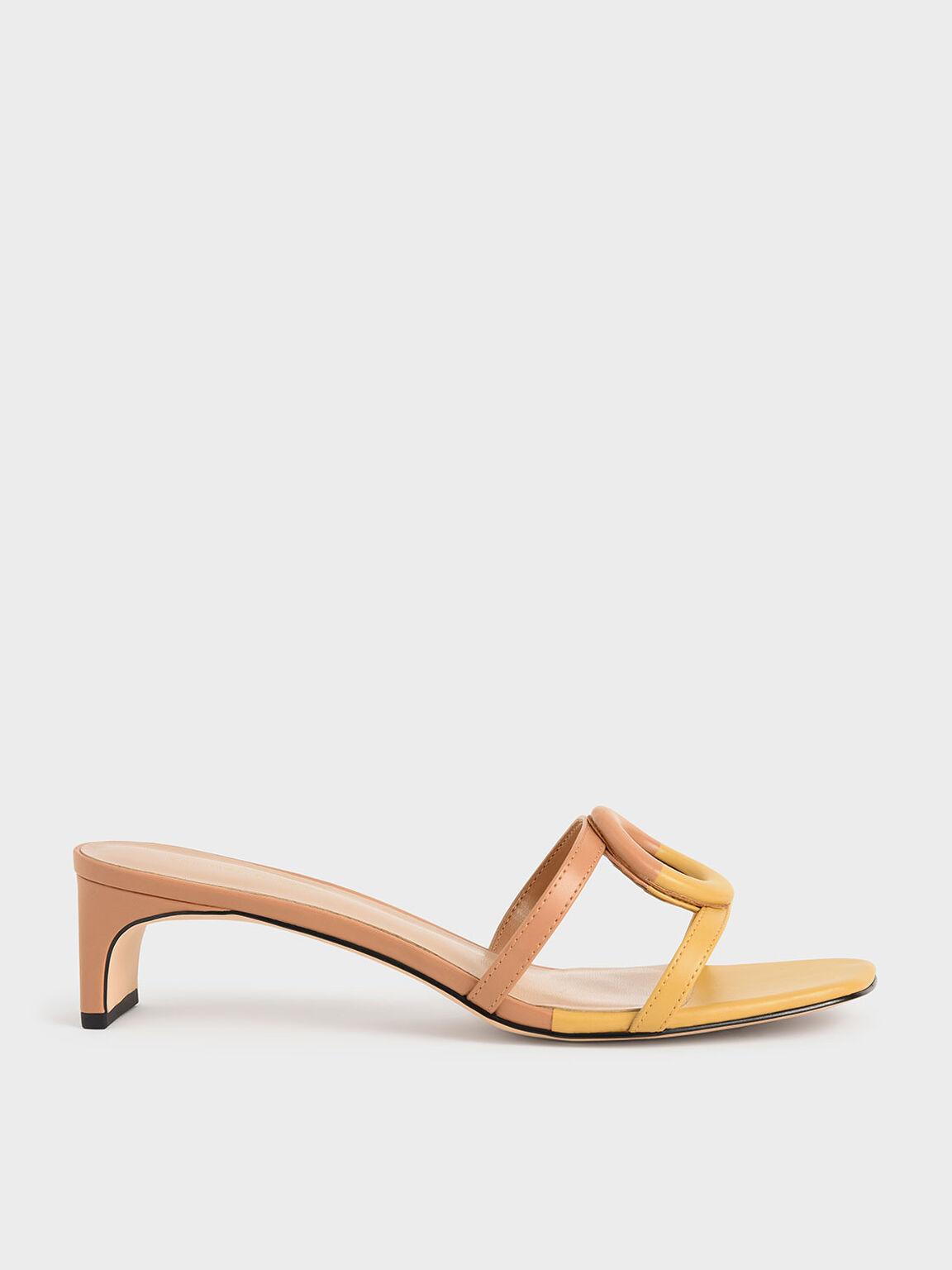 Mismatched Blade Heel Sandals, Yellow, hi-res
