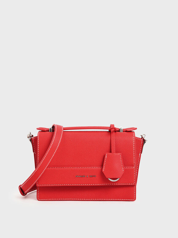 Front Flap Top Handle Bag, Red, hi-res