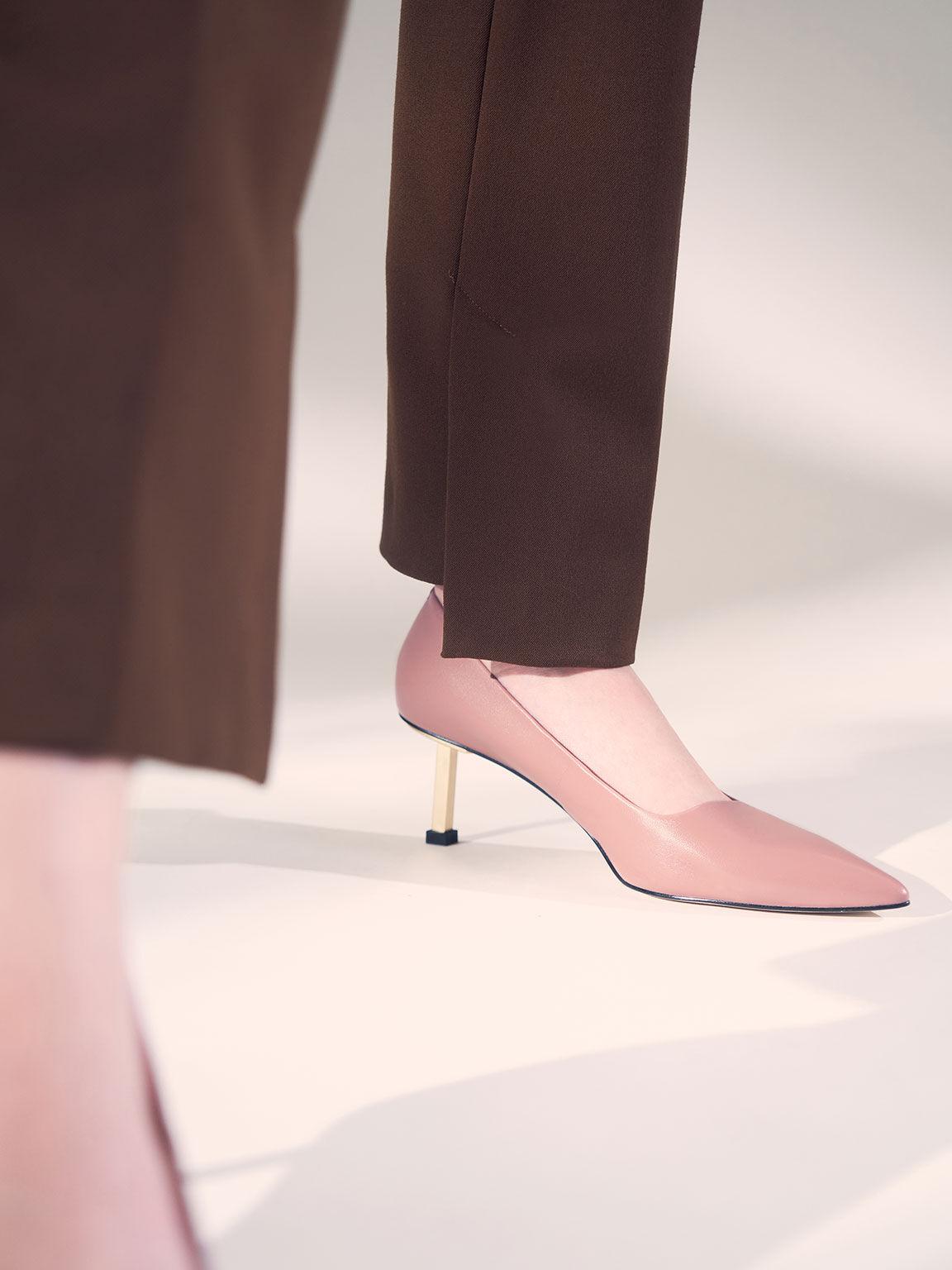 Leather Kitten Heel Court Shoes, Pink, hi-res