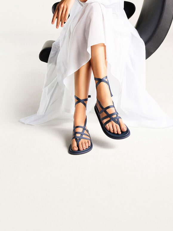 Grosgrain Tie-Around Thong Sandals, Blue, hi-res