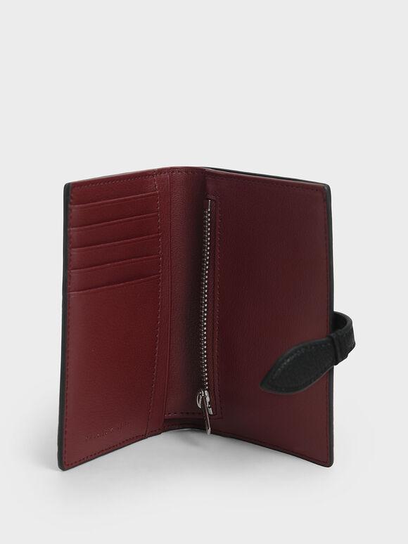 Snap Button Fold Wallet, Black, hi-res