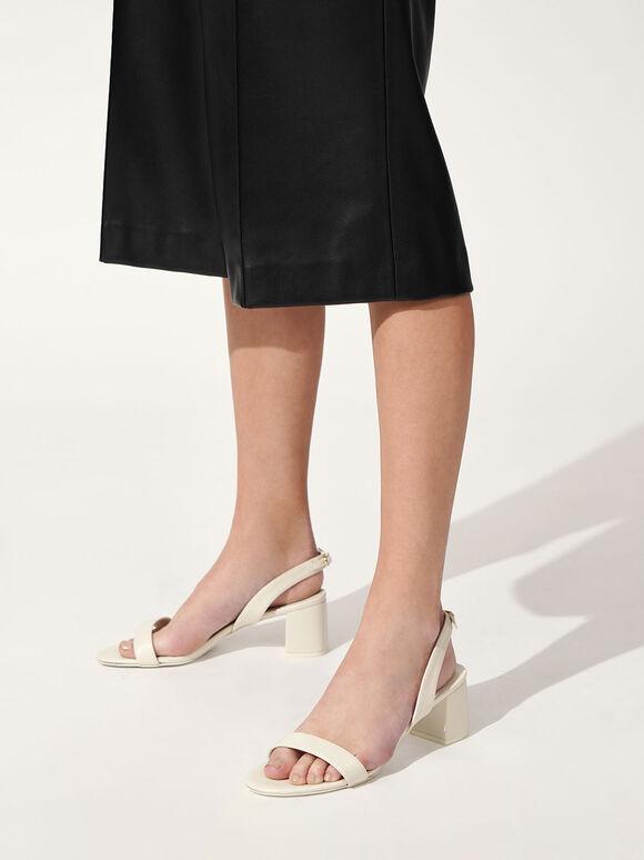 Slingback Heeled Sandals, White, hi-res