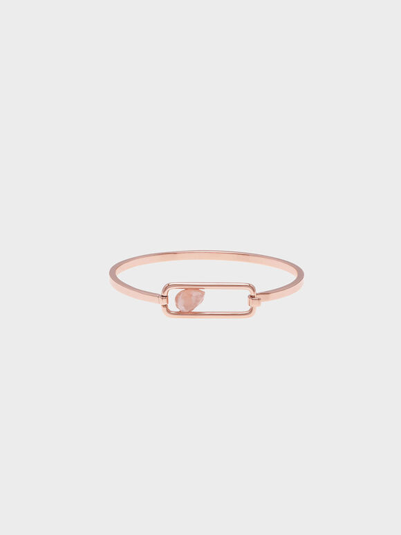 Rose Quartz Bangle, Rose Gold, hi-res