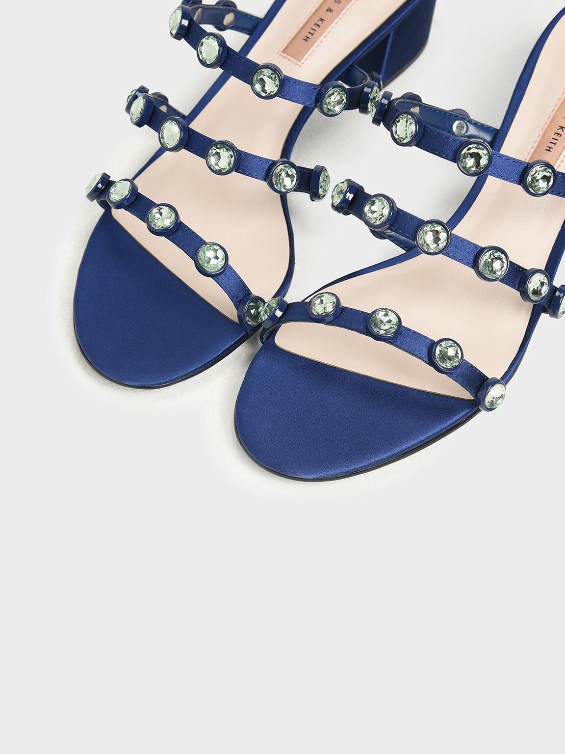 Embellished Strappy Slide Sandals, Dark Blue, hi-res