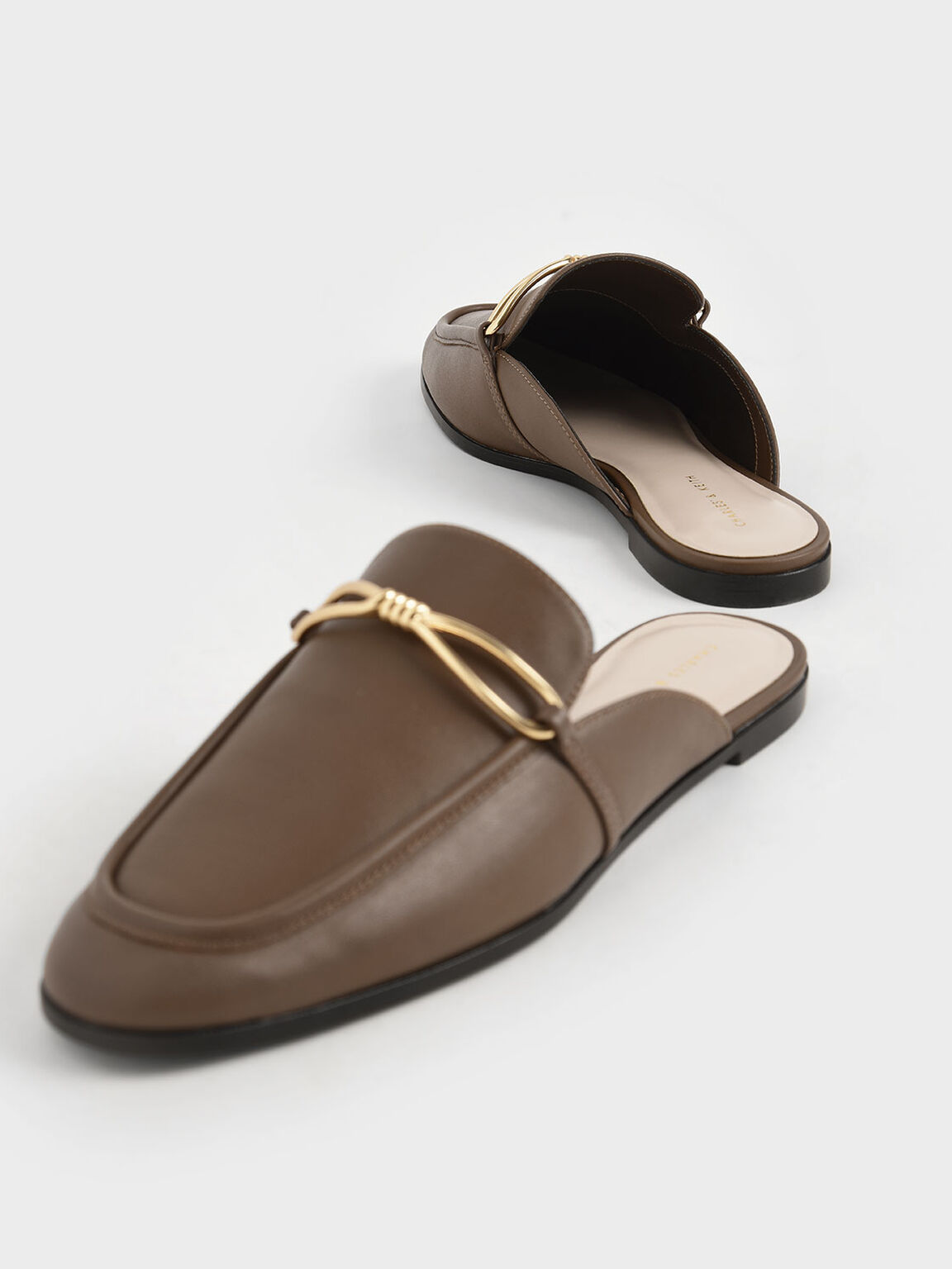 Metallic Accent Loafer Mules, Brown, hi-res