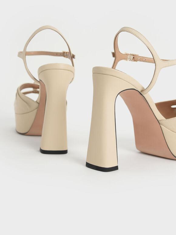 Leather Knot Detail Platform Sandals, Cream, hi-res