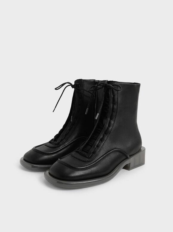 Tegan Leather Lace-Up Boots, Black, hi-res