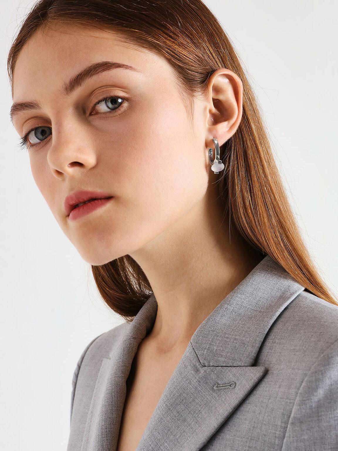 Chalcedony Stone Huggie Hoop Earrings, Silver, hi-res