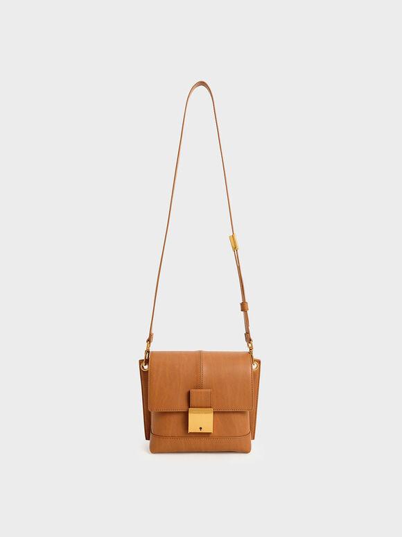Metallic Push-Lock Crossbody Bag, Cognac, hi-res