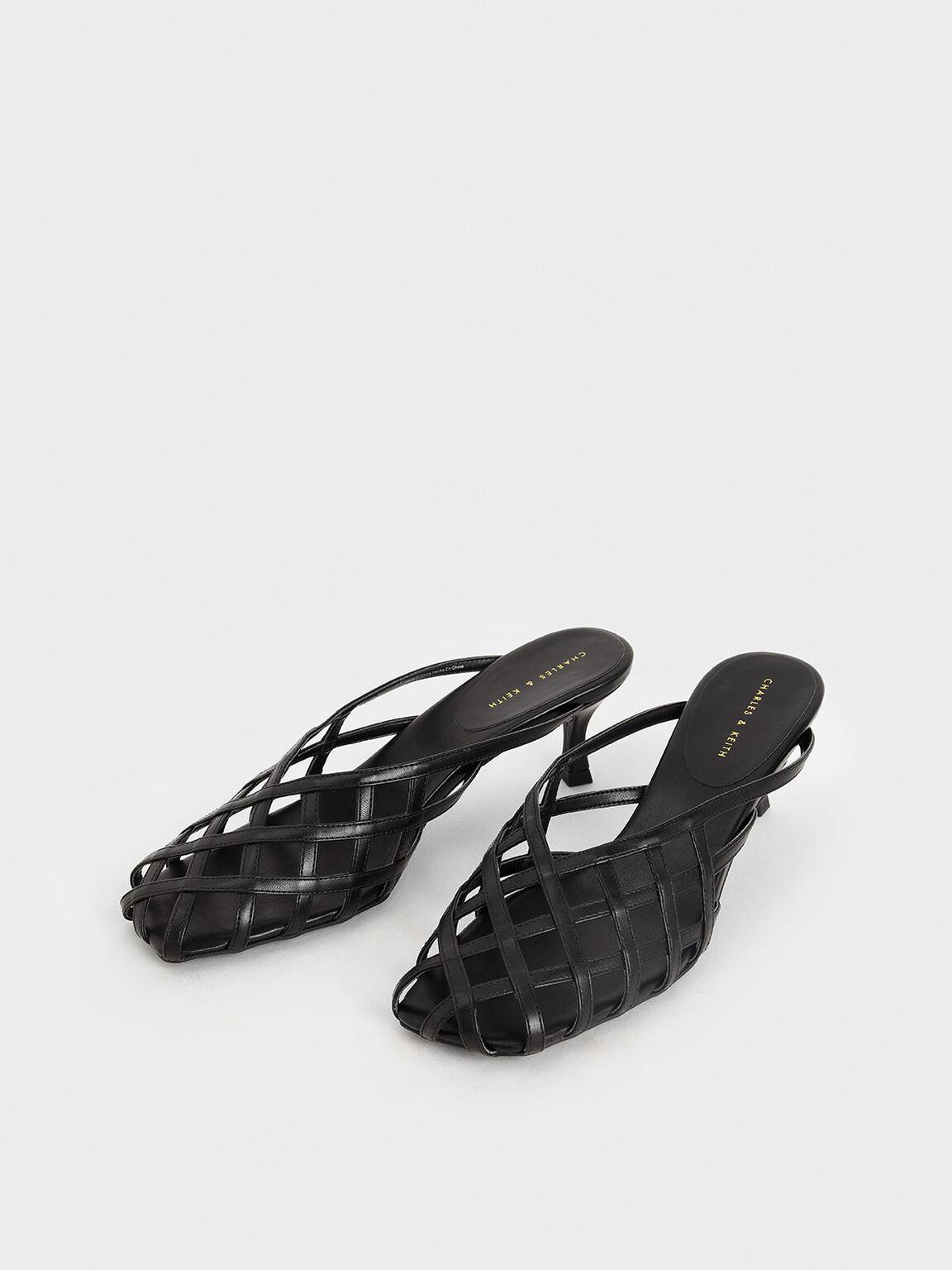 Square Toe Caged Mules, Black, hi-res