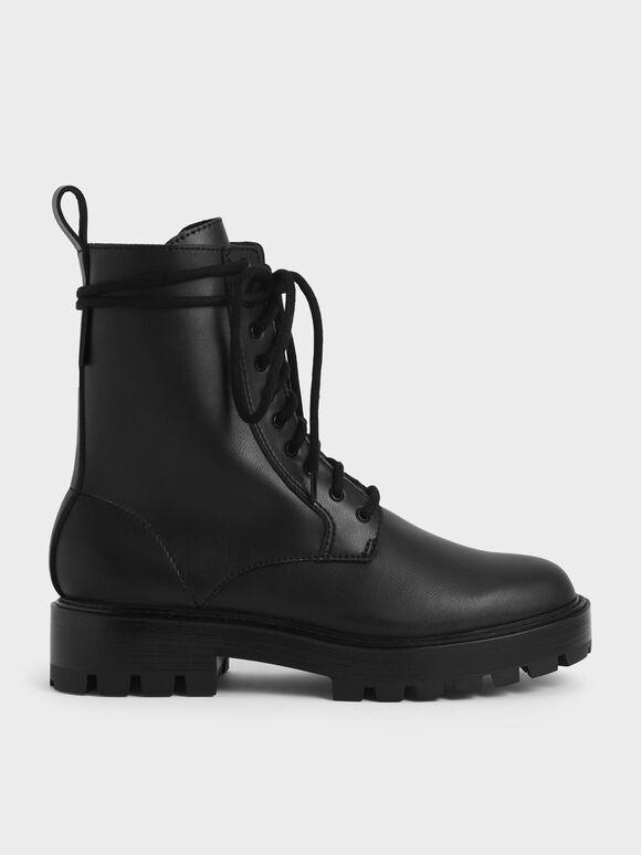 Lace-Up Calf Boots, Black, hi-res