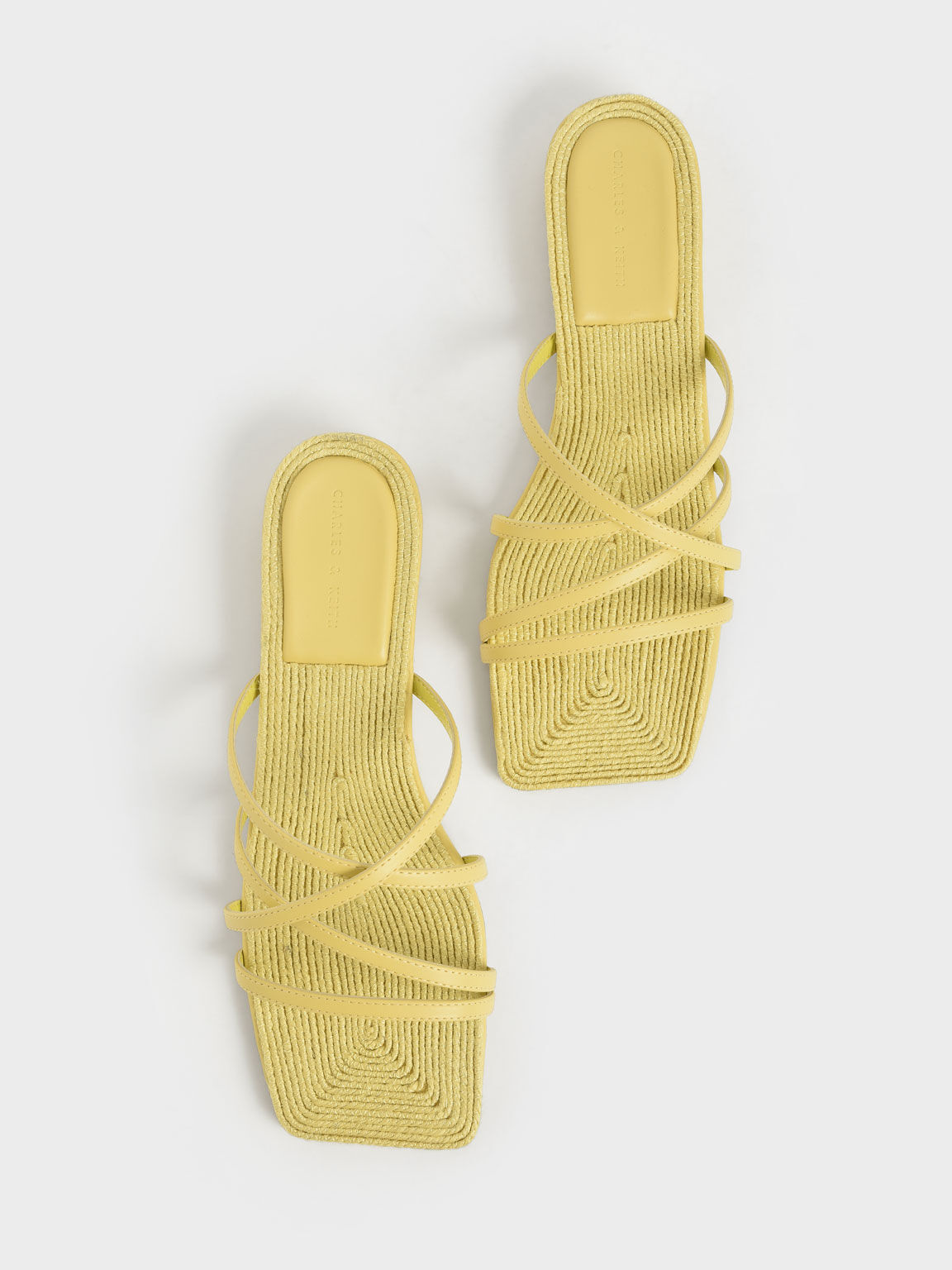 Strappy Square Toe Sandals, Yellow, hi-res
