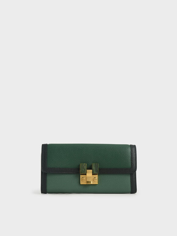 Stone-Embellished Mini Long Wallet, Green, hi-res