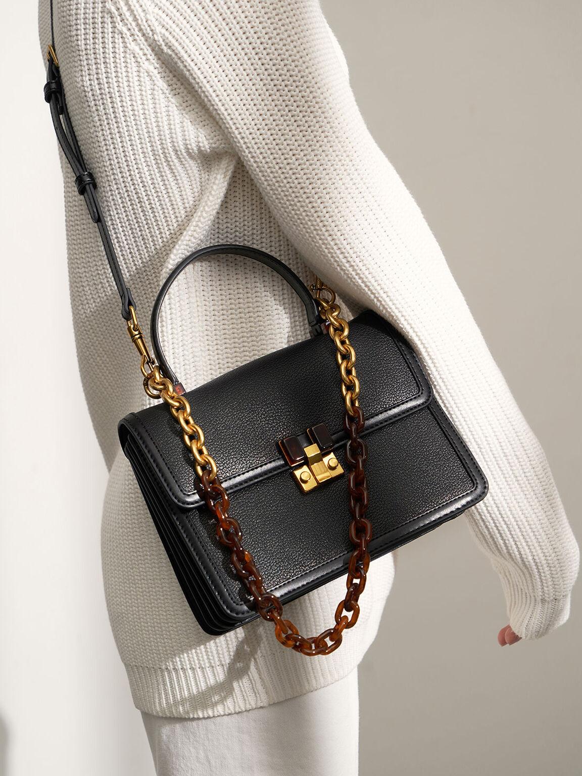Chunky Chain Strap Bag, Black, hi-res
