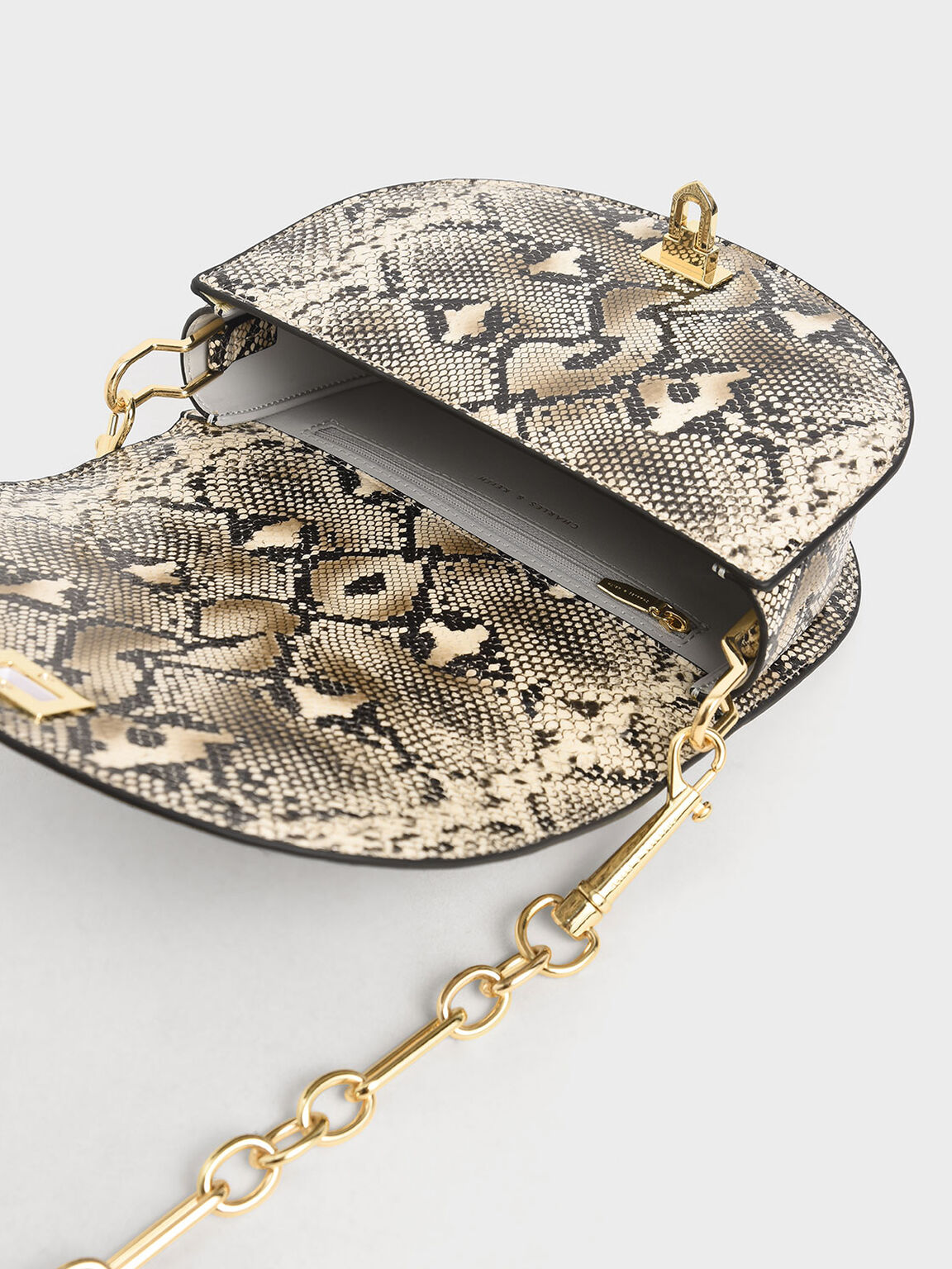 Snake Print Top Handle Saddle Bag, Multi, hi-res