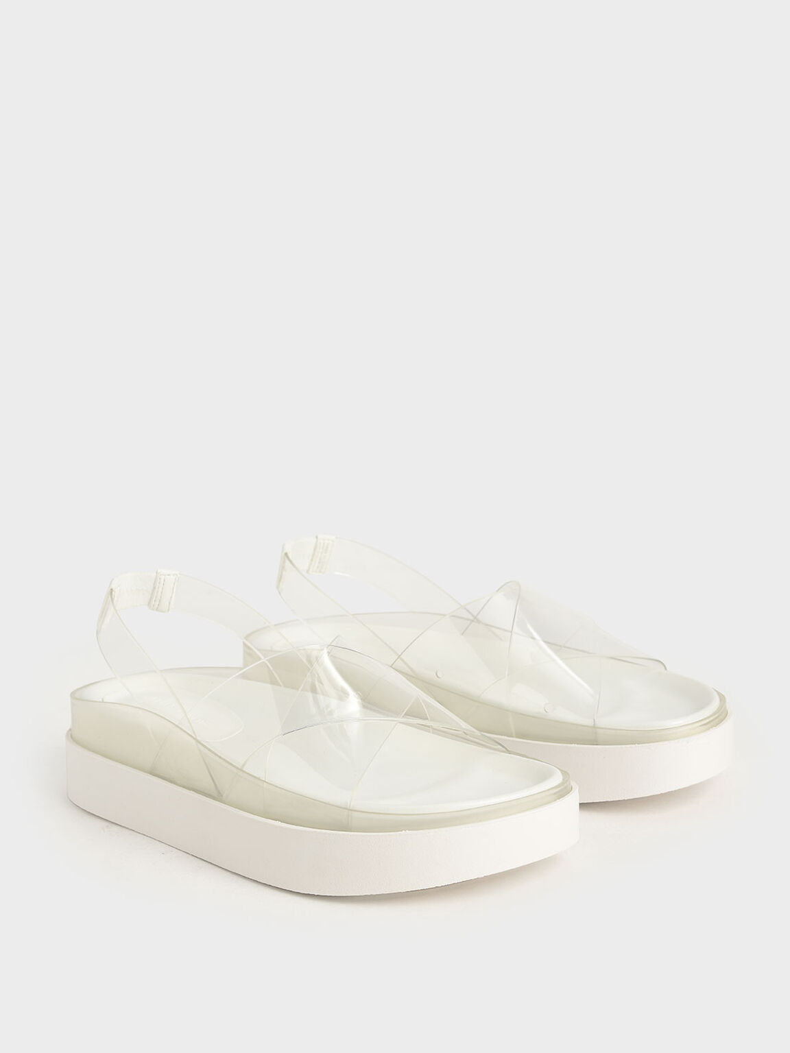 See-Through Effect Flatform Sandals, White, hi-res